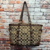 Coach 10630 Gallery Signature Brown Canvas and Leather Trim Zip Top Tote Purse Photo