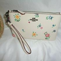 Coach 1135 Wildflower Print Small Wristlet Clutch Bag Chalk Handbag Photo