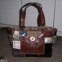 Coach 11358 Whiskey Leather Holiday Le Patchwork Tote Bag & Coach Gift Box Nwot Photo