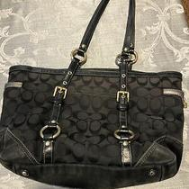 Coach 11658 Signature Gallery Large Black Canvas Tote Pre-Owned Photo