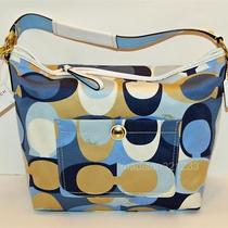 Coach 11734 Signature Blue Scarf Print Shoulder Bag Nwt Photo