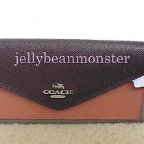 Coach 12122 Colorblock Leather Flap Soft Wallet Purse Stone Melon Maroon New Tag Photo