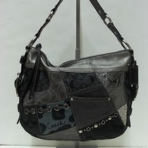 Coach 12901 Black Multicolor Tonal Patchwork Zoe Hobo Shoulder Handbag 2 Photo