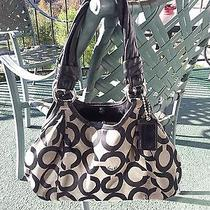 Coach 13441 Parker Op Art Satchel Shopper Bag Sand Photo