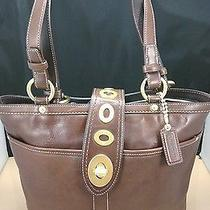 Coach 13757 Mahogany Brown Legacy Stripe Turnlock Tote 428 Photo