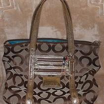 Coach 13826 Poppy Op Art Signature Glam Tote Pre-Owned Photo