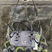 Coach 13861  Madison Op Art Lime Gray Sabrina Tote Purse Bag (Pu300 Photo