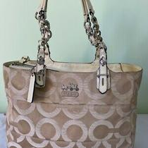 Coach 14133 Tribeca Op Art Beige Leather Satin Signature C Print Tote Bag Large Photo