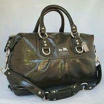 Coach 14178 Madison Graphite Gray Patent Leather Sabrina Satchel Purse Shoulder Photo