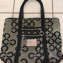 Coach 14530 Poppy Glam Tote Black Blocked Op Art Guc Gray Photo