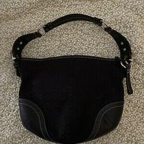 Coach 1460 Black Signature Jacquard & Leather Hobo Handbag Purse Euc Photo