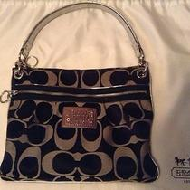 Coach 15318 Black With Grey Poppy Signature Perri Hippie Handbag Photo