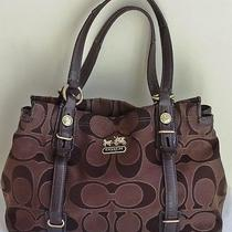 Coach 15402 Mia Signature Outline Op Art Carryall (Brown) Photo