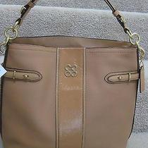 Coach 16457 Colette Leather Stripe Hobo Shoulder Tote Bag Purse Camel Brown New Photo