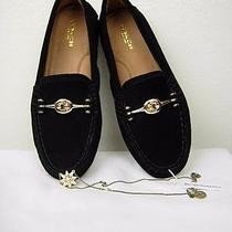 Coach 165 Moccasin Black Suede Gold Accent Arlene Size 5.5 and Bcbg Necklace Photo