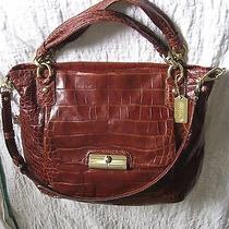 Coach 16795 Kristin Embossed Croc Walnut Leather Expandable Tote Handbag 798 Photo