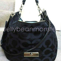 Coach 16811 Kristin Op Art Signature Sateen L Hobo Shoulder Bag Purse Black New  Photo