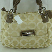 Coach 16813 Kristin Op Art Sateen Khaki Tote Bag 358 Photo