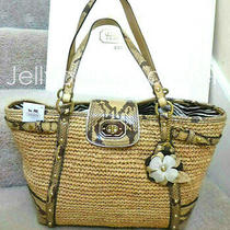 Coach 16839 Natalie Straw Reptile Leather Trim Flower Tote Bag Natural New Tag Photo