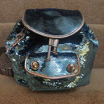 Coach 16916 Poppy Sequins Backpack Bag Purse Chambray Blue New Photo