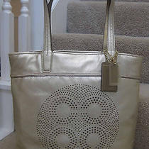 Coach 17041 Audrey Perforated Op Art Leather Slim Tote Bag Purse Gold New Photo