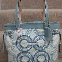 Coach 17044 Audrey Op Art Swirl Leigh Slim Tote Bag Blue Green Multicolor Tag Photo