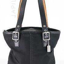 Coach 1835 Black  Microfiber Leather Shoulder Bag Tote Photo