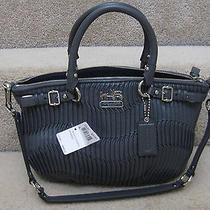 Coach 18620 Madison Gathered Leather Sophia Satchel Bag Purse Graphite Grey New Photo