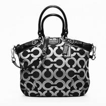 Coach 18635 Signature Sophia Large Satchel Bag Purse Black & Gray Photo