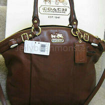 Coach 18641 Madison Leather Lindsey Satchel Shoulder Bag Purse Acorn Brown New Photo