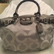 Coach18650 Madison Op Art Sateen Sophia Hand Bag Satchel Light Grey and Python Photo