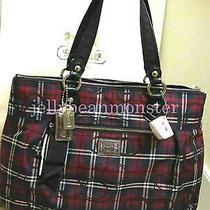 Coach 18713 Poppy Tartan Glam Tote Bag Purse Black Multicolor New With Tag Photo