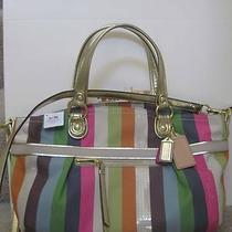 Coach 19026 Poppy Legacy Stripe Rocker Satchel Bag Crossbody Multicolor New Photo