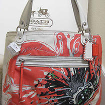 Coach 19029 Poppy Placed Flower Glam Tote Bag Purse Floral Light Khaki New Tag Photo