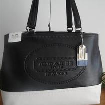 Coach 19391 Hamptons Weekend Leather Black White Tote Purse Bag 298 New W/tag Photo