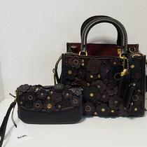 Coach 1941 Rogue 25 Tea Rose Black/brass & Matching Wristlet Clutch 58840 23536 Photo