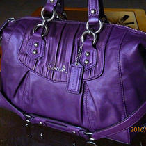 Coach 19452 Ashley Gathered Purple Plum Leather Satchel Holiday Winter Summer Photo