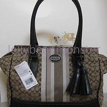 Coach 19915 Legacy Signature Stripe Candace Carryall Bag Purse Khaki Mahogany Photo