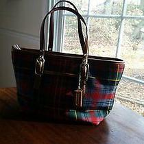 Coach 2002 Collectible Holiday Wool Plaid Tote Leather Bottom Handlestitching Photo