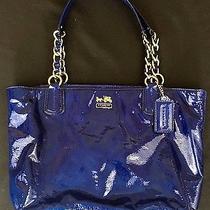Coach 20484 Madison Patent Leather Ultramarine Tote Handbag Purse    Rare Photo