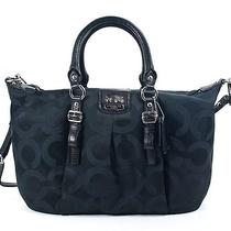 Coach 21124 Madison Op Art Sateen Juliette Black Satchel New Photo