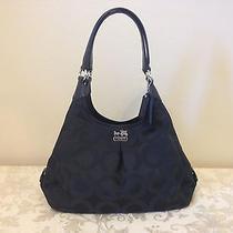 Coach 21125 Maggie Shoulder Bag in Op Art Sateen Fabric - Black Photo