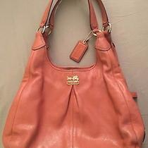 Coach 21225 Cognac Brown Madison Maggie Pebbled Hobo Leather Shoulder Hand Bag Photo