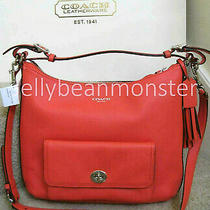 Coach 22381 Legacy Leather Courtenay Hobo Bag Purse Crossbody Bright Coral New Photo