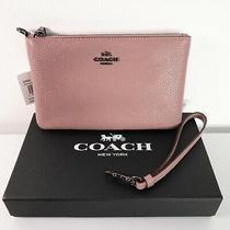 Coach 22952 Dusty Rose Pebbled Leather Zip Wallet Small Wristlet Nwt Pink Dkdro Photo