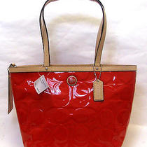 Coach 25187 Signature Emb Patent Leather Tote 298 Shouldr Bag Red Nwt Orig Pack Photo