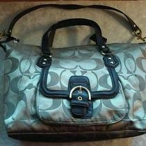 Coach 25292 Campbell Izzy Signature Khaki/mahogany Large 2 Way Satchel Handbag  Photo