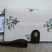 Coach 25679 Cross Stitch Floral Leather Phone Wristlet Wallet Purse Chalk New Photo