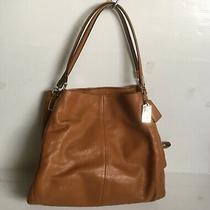 Coach 26224 Madison Phoebe Tan Gold Leather Hobo Medium Shoulder Bag Purse Photo