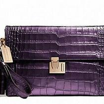 Coach 26446  Legacy Met Croc Clutch Black Violet Rose Gold Hdwe. Retail 398 Nwt Photo